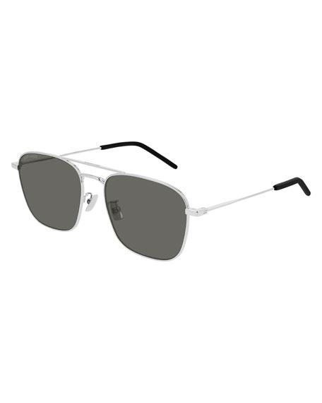 Saint Laurent Men's Square Double-Bridge Metal Sunglasses