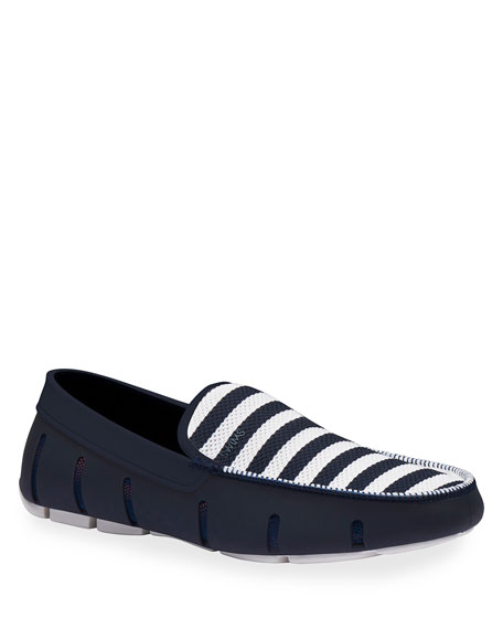 Swims Men's Striped Mesh/Rubber Venetian Driver Loafers