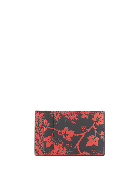 Alexander McQueen Men's Branch-Print Leather Card Case