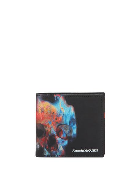 Alexander McQueen Men's Painted Skull Leather Wallet