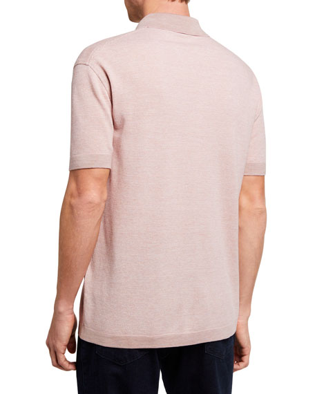 Image 2 of 2: Ermenegildo Zegna Men's Melange Tic Regular-Fit Polo Shirt