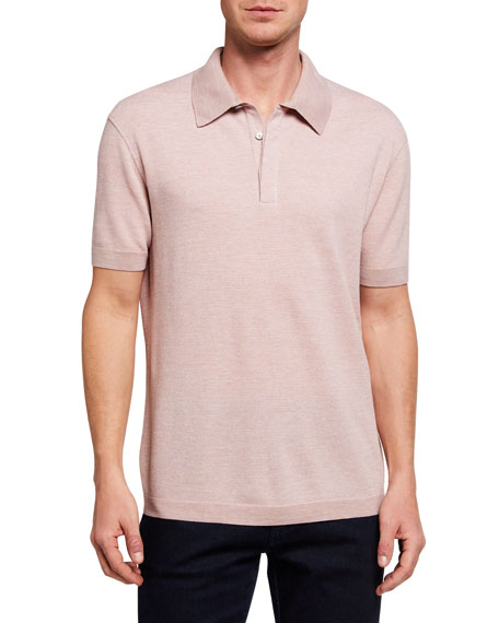 Image 1 of 2: Ermenegildo Zegna Men's Melange Tic Regular-Fit Polo Shirt