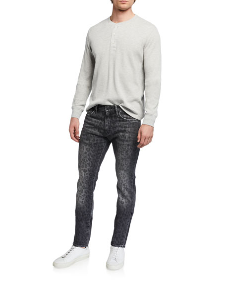 Image 3 of 3: Ovadia Men's Slim Leopard-Pattern Jeans