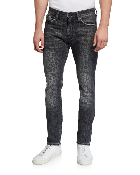 Image 1 of 3: Ovadia Men's Slim Leopard-Pattern Jeans