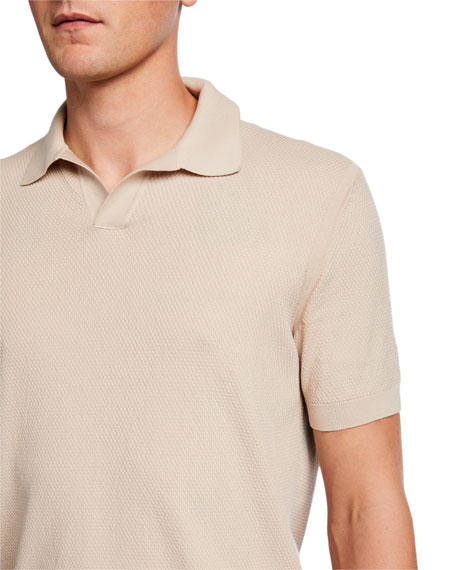 Image 4 of 4: Ermenegildo Zegna Men's Solid Waffle-Knit Polo Shirt