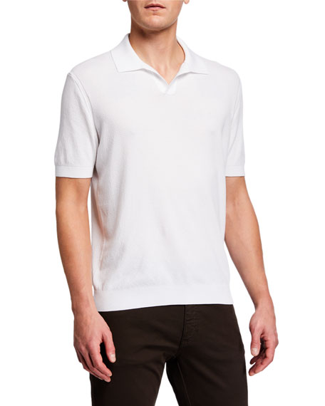 Image 2 of 4: Ermenegildo Zegna Men's Solid Waffle-Knit Polo Shirt
