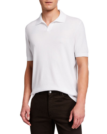 Image 1 of 4: Ermenegildo Zegna Men's Solid Waffle-Knit Polo Shirt