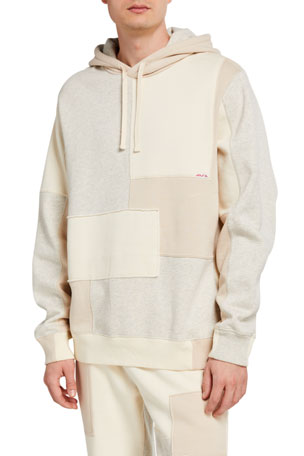 Ovadia Men's Patchwork Fleece Pullover Hoodie