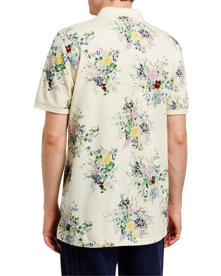 Image 2 of 2: Ovadia Men's Floral-Print Polo Shirt