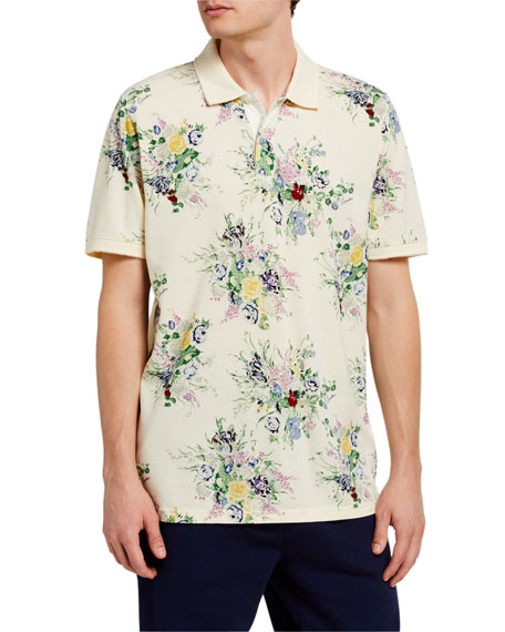 Image 1 of 2: Ovadia Men's Floral-Print Polo Shirt