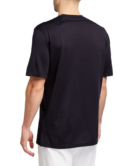 Image 2 of 2: Ermenegildo Zegna Men's Regular-Fit Lightweight Silk-Cotton T-Shirt