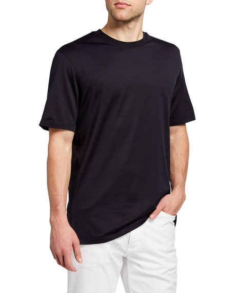 Image 1 of 2: Ermenegildo Zegna Men's Regular-Fit Lightweight Silk-Cotton T-Shirt