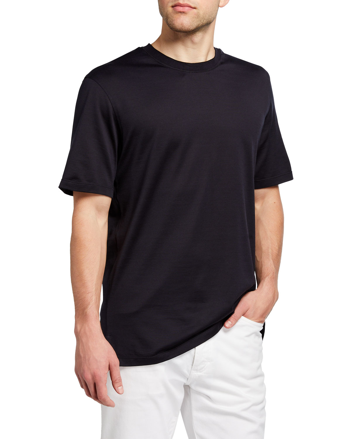 Ermenegildo Zegna Men's Regular-Fit Lightweight Silk-Cotton T-Shirt