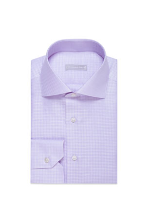 Stefano Ricci Men's Linen Gingham Dress Shirt