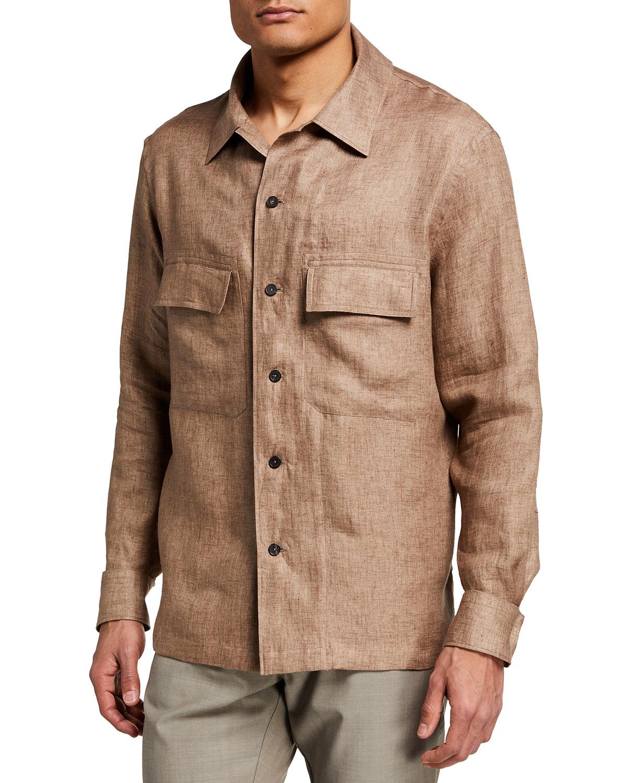 Ermenegildo Zegna Men's Linen Trim-Fit Work Shirt | Neiman Marcus