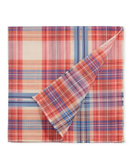 Simonnot Godard Men's Baltic Scottish Check Pocket Square