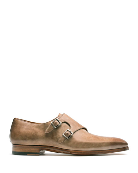 Image 2 of 2: Magnanni Men's Ezra Double-Monk Burnished Leather Loafers