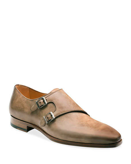 Image 1 of 2: Magnanni Men's Ezra Double-Monk Burnished Leather Loafers
