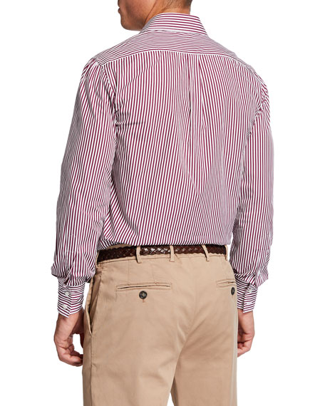 Image 2 of 2: Brunello Cucinelli Men's Striped French-Collar Sport Shirt