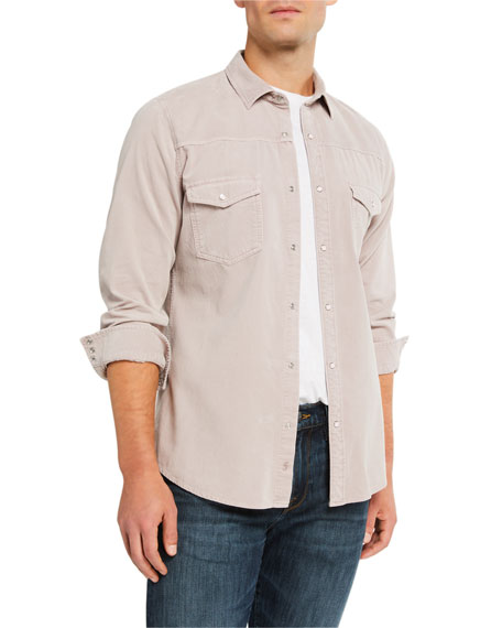 Image 1 of 3: Men's Slim-Fit Corduroy Western Sport Shirt