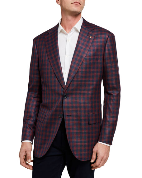 Stefano Ricci Men's Iconic Gingham Wool-Blend Two-Button Jacket