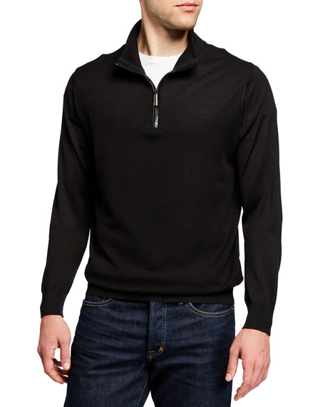 Stefano Ricci Men's Quarter-Zip Pullover Sweater w/ Croc Detail