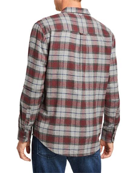 FRAME Men's Classic Brushed Plaid Sport Shirt