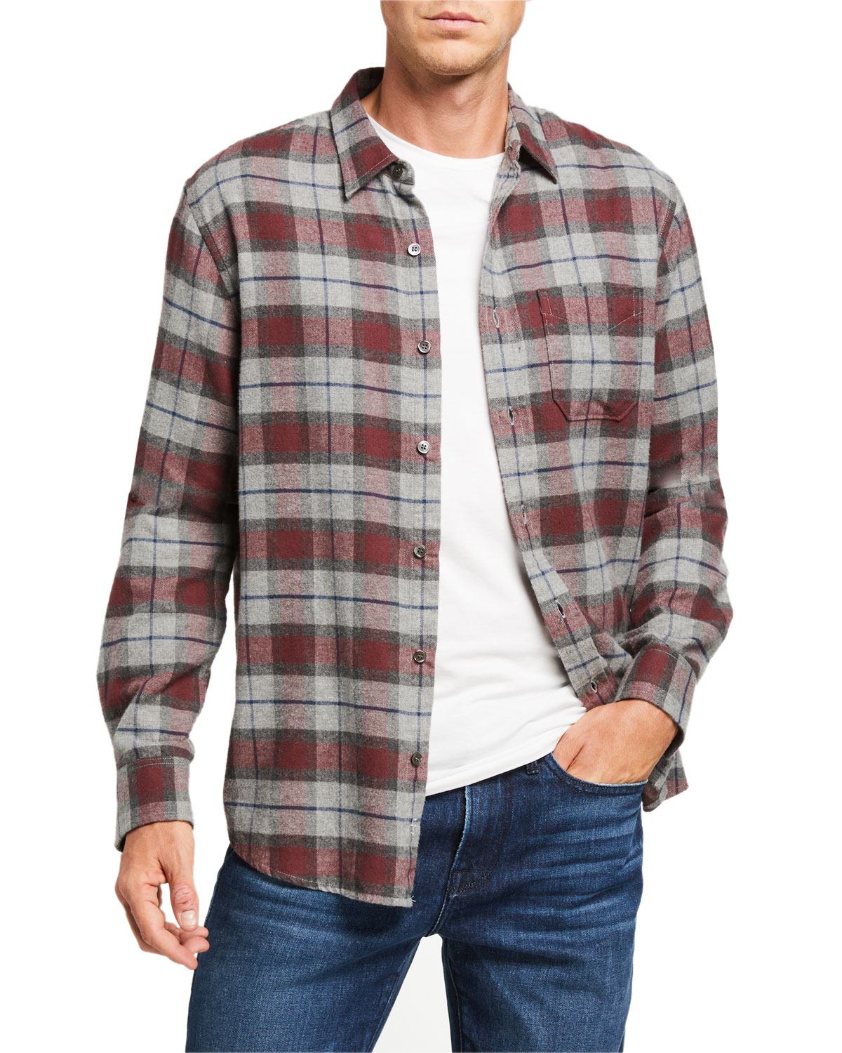 FRAME Men's Classic Brushed Plaid Sport Shirt in Red and Gray