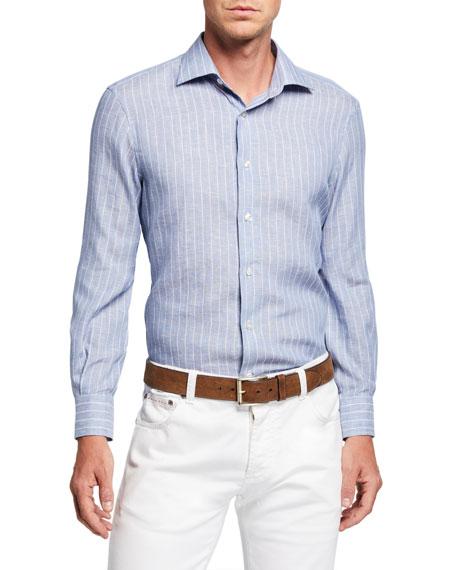 Atelier Munro Men's Pinstriped Linen Sport Shirt