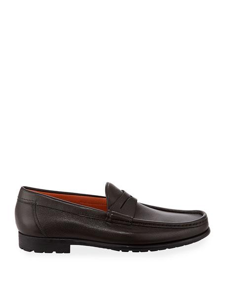 Santoni Ascott Leather Penny Loafers