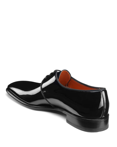 Santoni Men's Isogram Patent Leather Derby Shoes