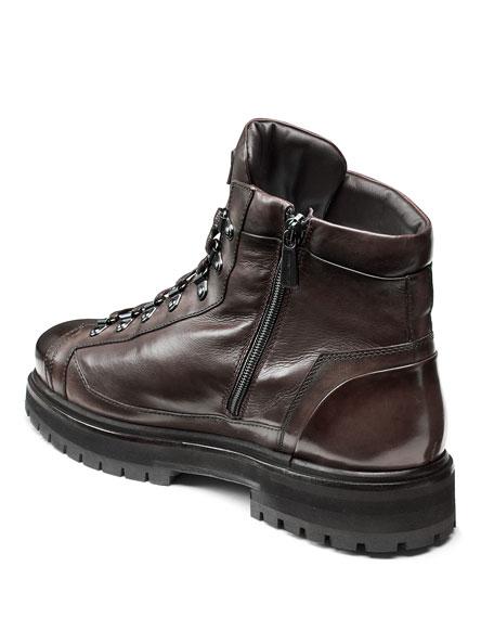 Santoni Men's March Lug-Sole Lamb Leather Boots