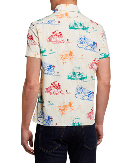 Image 2 of 2: Gucci Men's x Disney Mickey Mouse Print Shirt