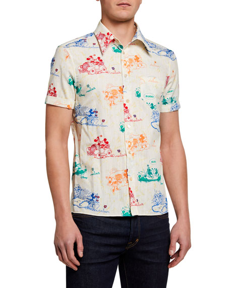 Image 1 of 2: Gucci Men's x Disney Mickey Mouse Print Shirt
