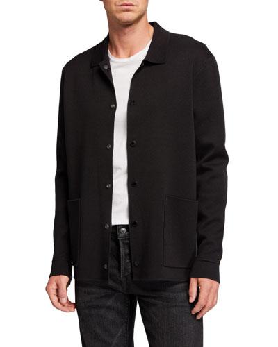 Men's Knit Snap-Button Cardigan Sweater