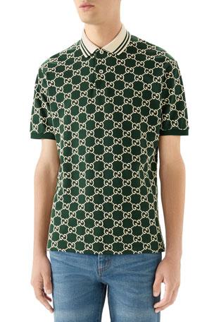 Gucci Men's Interlocking GG Pique Polo Shirt