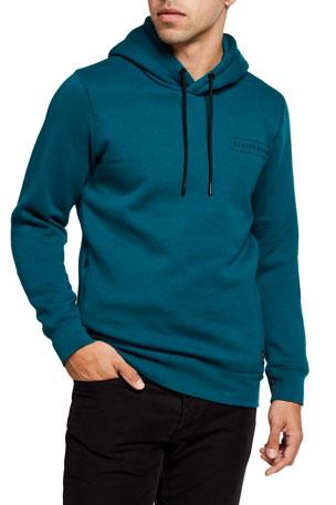 Plaid Mens Long Sleeved Drawstring Hooded Classic Sweatshirts