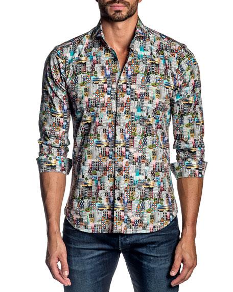 Jared Lang Men's Cityscape Cotton Sport Shirt