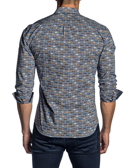 Jared Lang Men's Car-Print Sport Shirt