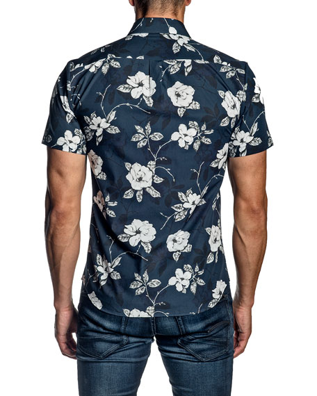 Jared Lang Men's Rose Floral-Print Short-Sleeve Sport Shirt