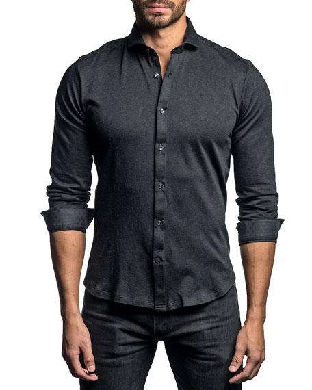 Jared Lang Men's Solid Contrast-Reverse Sport Shirt