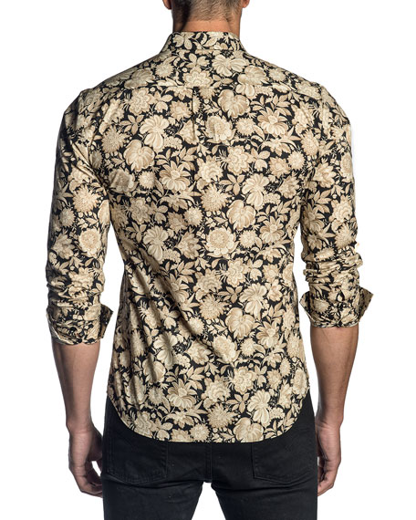 Image 2 of 2: Men's Floral-Print Sport Shirt