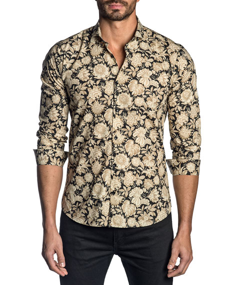 Image 1 of 2: Men's Floral-Print Sport Shirt