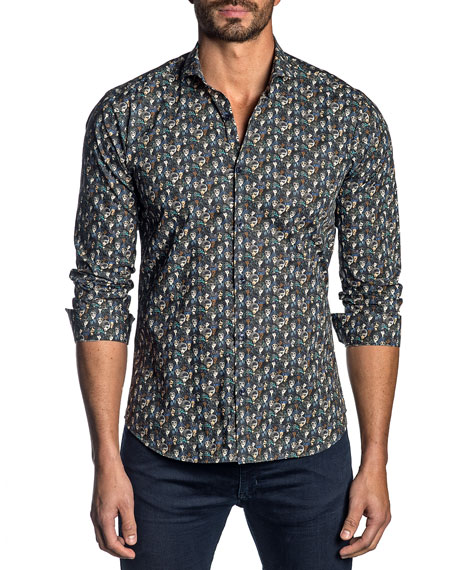 Jared Lang Men's Graphic-Pattern Sport Shirt