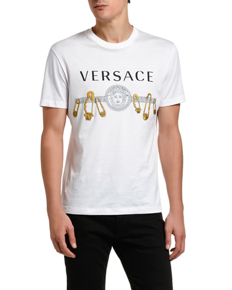 Image 1 of 2: Versace Men's Safety Pin Graphic Tee