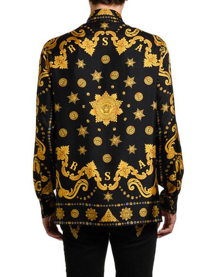 Versace Men's Baroque-Print Silk Sport Shirt