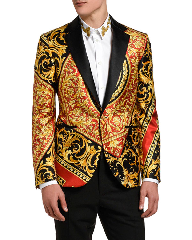 Versace Men's Baroque Satin-Lapel Dinner Jacket | Neiman ...