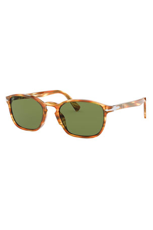 Persol Men's Patterned Rectangle Acetate Sunglasses