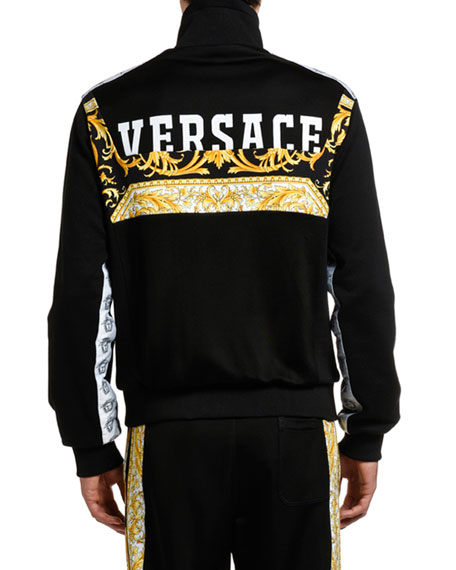 Image 2 of 3: Versace Men's Baroque-Inset Zip-Front Sweater