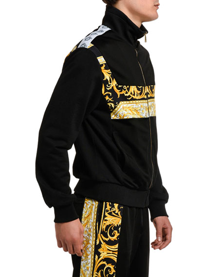 Image 3 of 3: Versace Men's Baroque-Inset Zip-Front Sweater